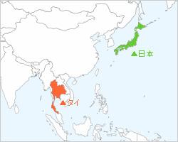 日本とタイの地図
